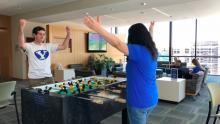 Students celebrating at the Salt Lake Center